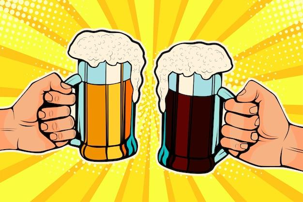 Поп-арт руки с кружками пива. празднование октоберфест. Premium векторы