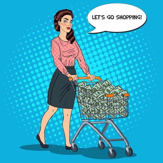 Поп-арт счастливая богатая женщина с корзиной, полной денег. иллюстрация Premium векторы