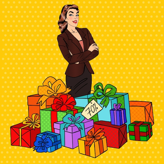 Поп-арт счастливая женщина с огромными подарочными коробками. Premium векторы