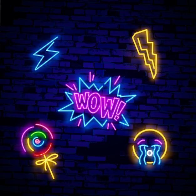 Pop art icons set. pop art neon sign. bright signboard, light banner. Premium Vector