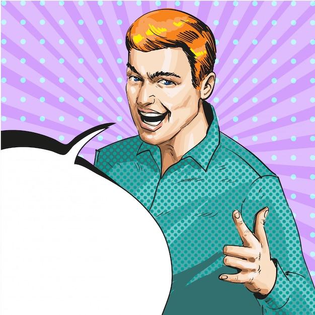 Pop art illustration of man showing ily hand sign Premium Vector