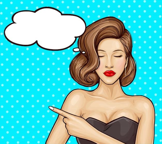 Поп-арт иллюстрация красивой девушки в роскошном платье, указывая пальцем на что-то или информацию о продаже, речевой пузырь. афиша рекламы распродаж, скидок и услуг. Бесплатные векторы