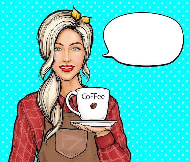 女性バリスタのポップアートイラスト。コーヒーのカップを保持しているシャツとエプロンの笑顔の女性。 無料ベクター