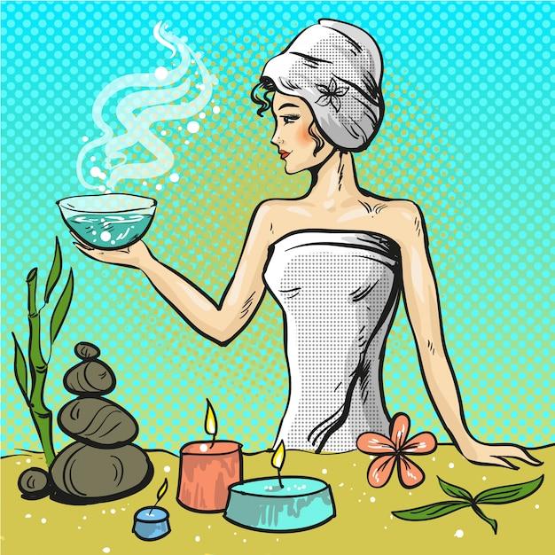 Pop art illustration of woman in spa beauty salon Premium Vector
