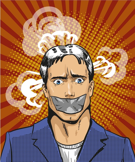 Pop art illustration of young man with taped mouth Premium Vector