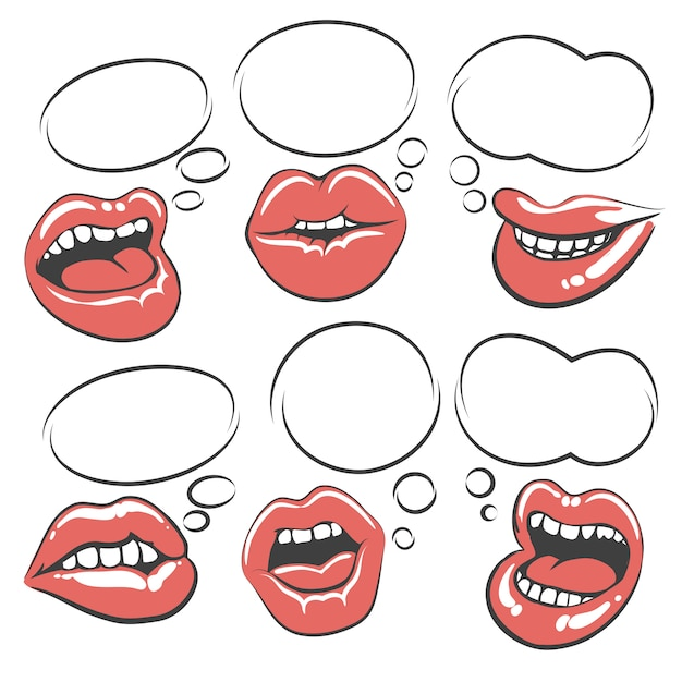 Pop art lips with speech bubble Premium Vector