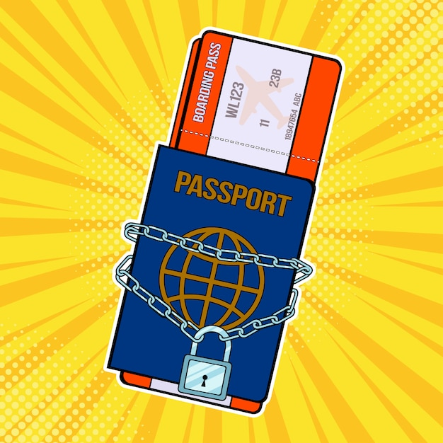 Pop art lock with chain on the passport and plane tickets Premium Vector