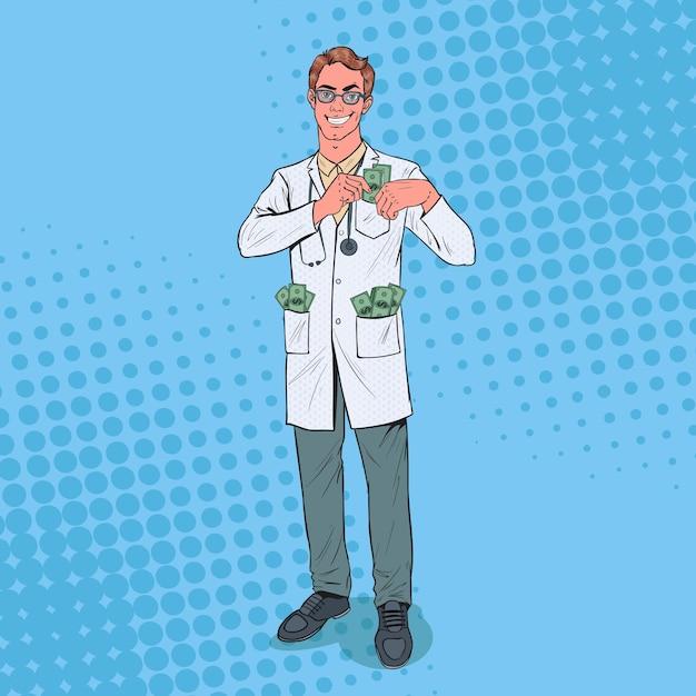 ポップアートの男性の腐敗した医者はポケットにお金を入れます Premiumベクター
