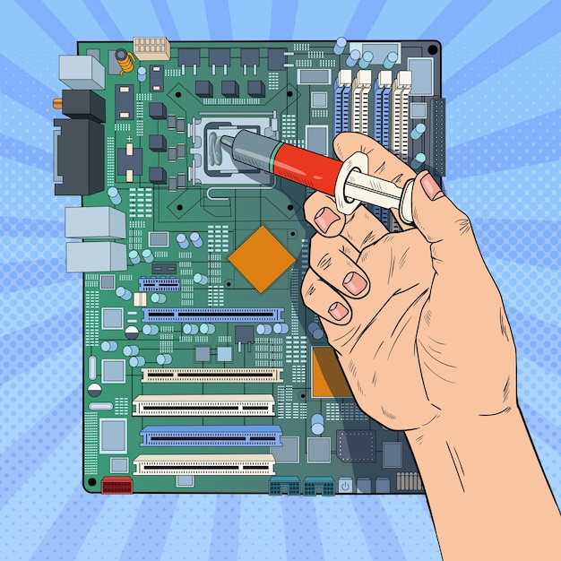 premium vector pop art male hand of computer engineer repairing cpu on motherboard maintenance pc hardware upgrade https www freepik com profile preagreement getstarted 10667302