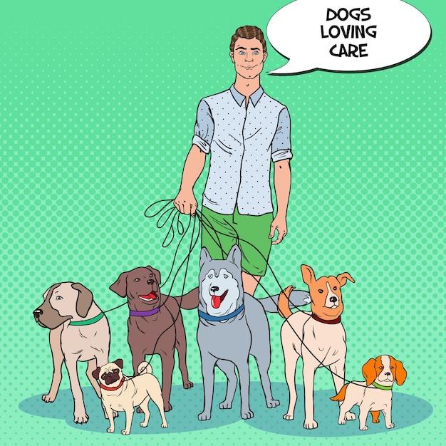 ポップアートマン犬の散歩のイラスト Premiumベクター