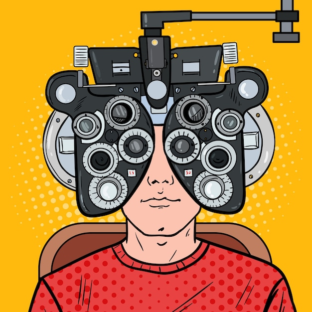 Pop art man patient at optometric clinic with optical phoropter Premium Vector
