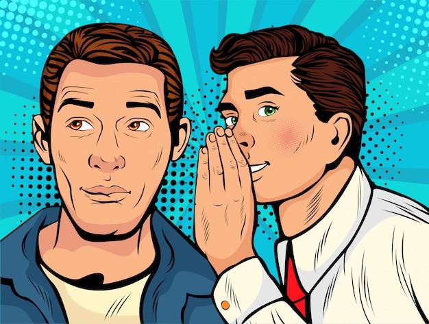 Pop art man whispering gossip or secret to his friend Premium Vector