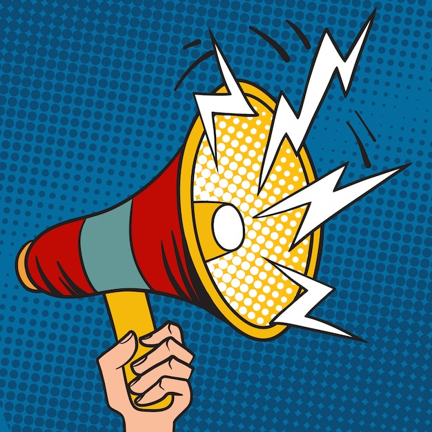 Pop art megaphone design loudspeaker cartoon vector illustration. Premium Vector