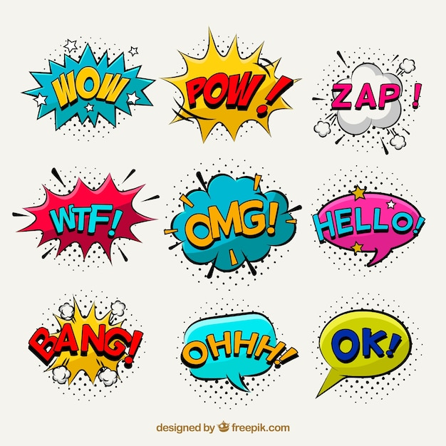 Pop art pack of comic stickers Free Vector