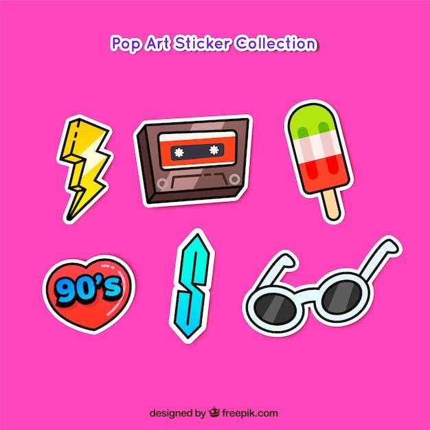Pacchetto di arte pop adesivi divertenti Vettore gratuito