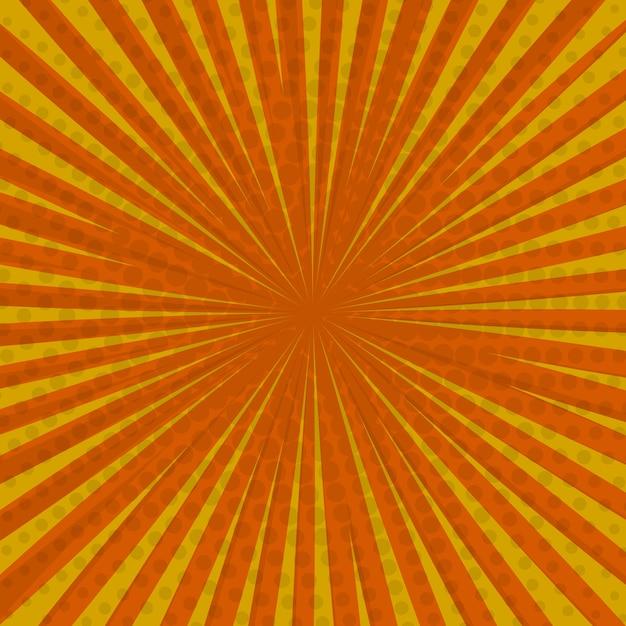 팝 아트 복고풍 만화 배경, 노란색, 번개 폭발 하프 톤 도트. 프리미엄 벡터