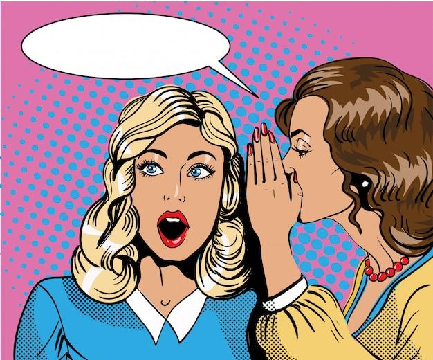 Pop art retro comic  illustration. woman whispering gossip or secret to her friend. speech bubble. Premium Vector