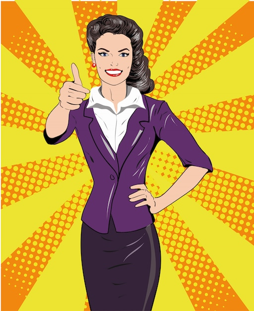 Pop art retro style woman showing thumb up hand sign. comic hand drawn design illustration. Premium Vector