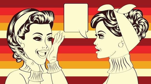 Pop art retro women in comics style that gossip Premium Vector