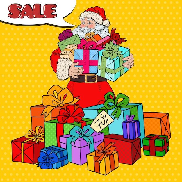 クリスマスセールのクリスマスプレゼントとポップアートサンタクロース。 Premiumベクター