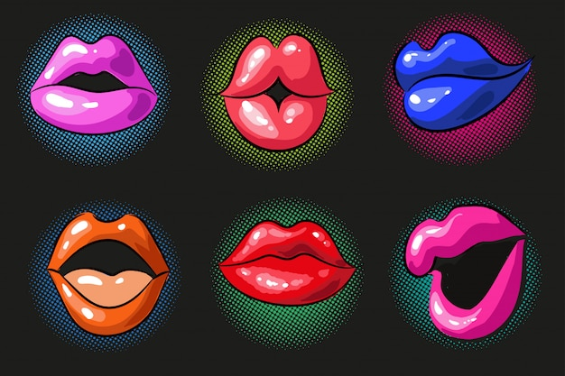 Pop art sexy color female lips Premium Vector