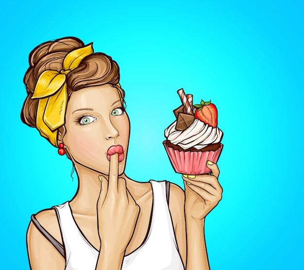 Pop art sexy girl with sweet cupcake Free Vector