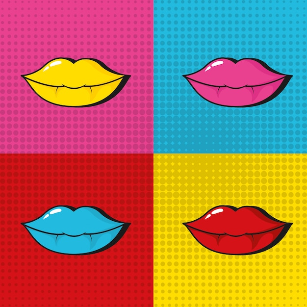 Pop art sexy lips colorful frames Premium Vector
