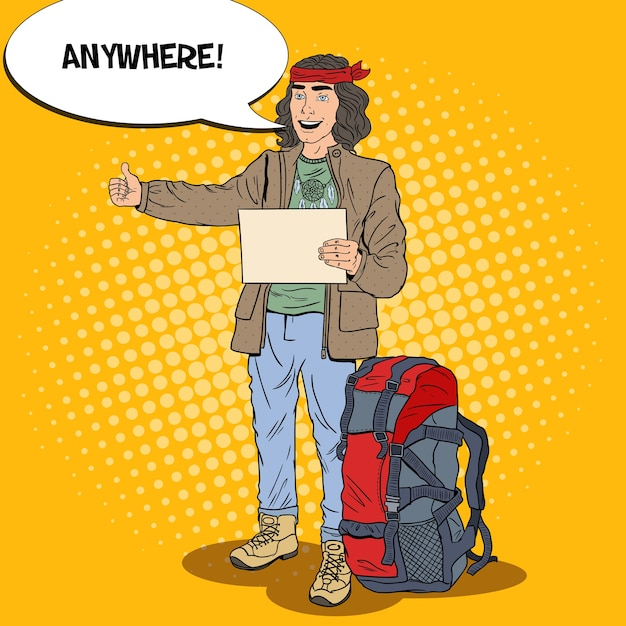 Поп-арт улыбается автостопом человек путешествия с рюкзаком. Premium векторы