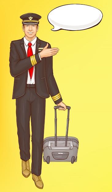 Pop art steward, flight attendant, air hostess man Free Vector