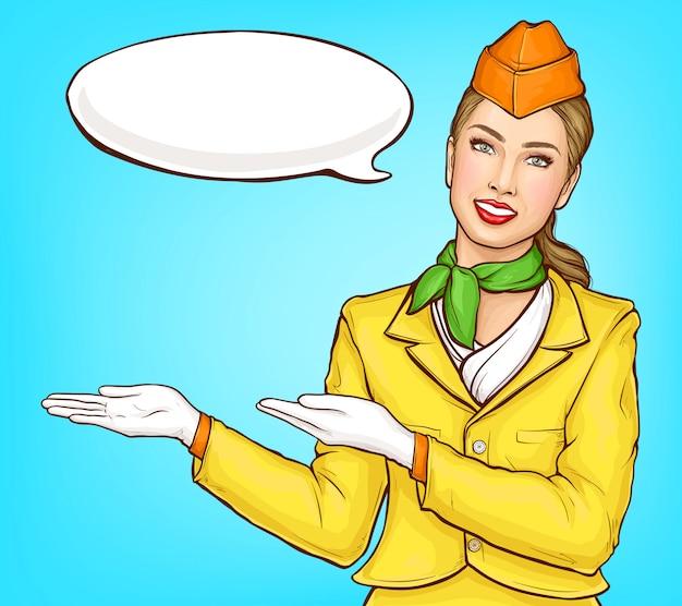 Pop art stewardess, flight attendant, air hostess Free Vector