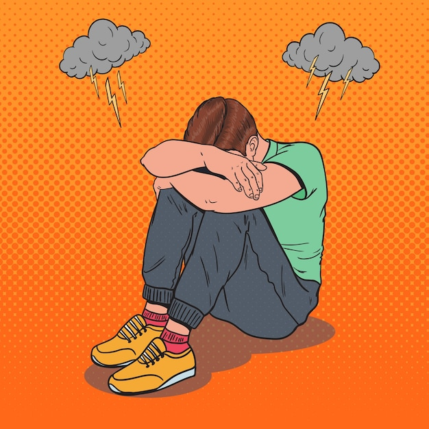 Pop art stressed young man sitting on the floor with hands on the head. depression and frustration. Premium Vector
