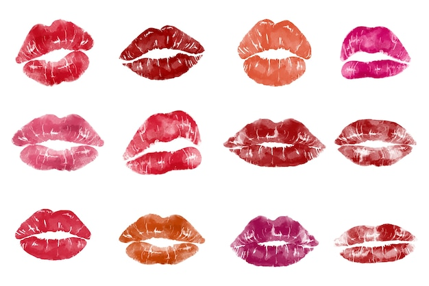 Pop art style lip print Free Vector