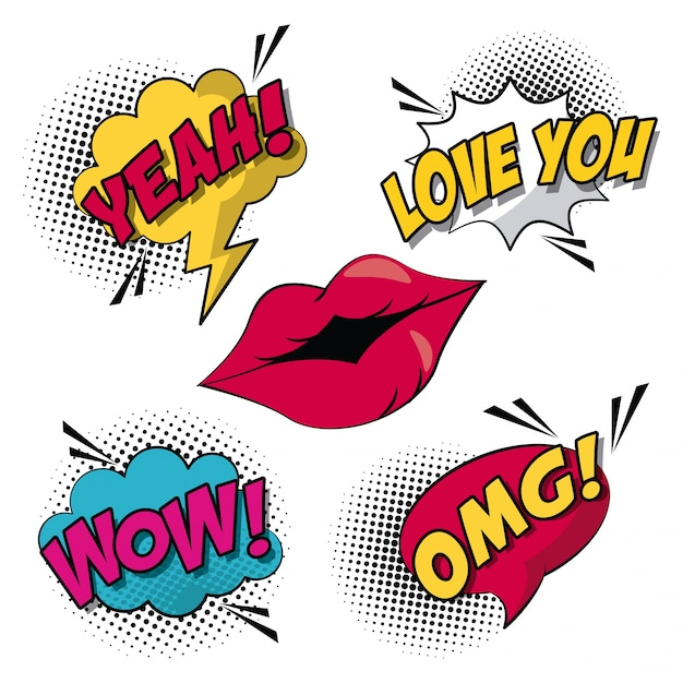 Pop art style with halftone and lips with callout and text inside Premium Vector