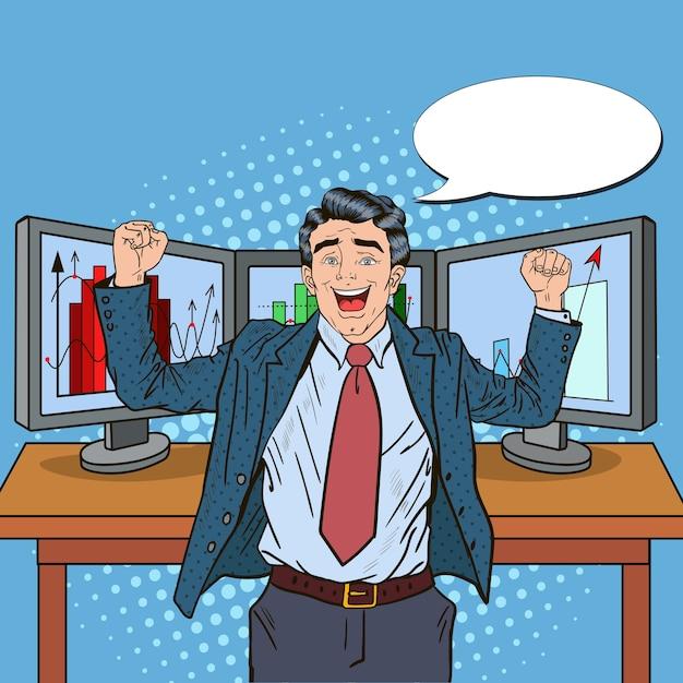 Поп-арт успешный бизнесмен с компьютеров и графиков растущих рыночных долей. Premium векторы