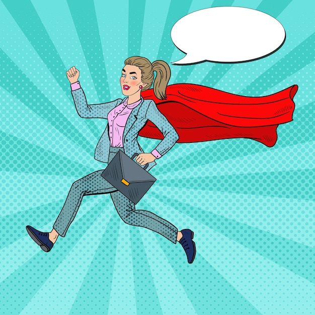 Pop art super business woman with red cape running with briefcase. Premium Vector