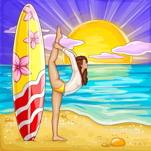 Pop art surfing girl doing yoga on the sand beach. Free Vector