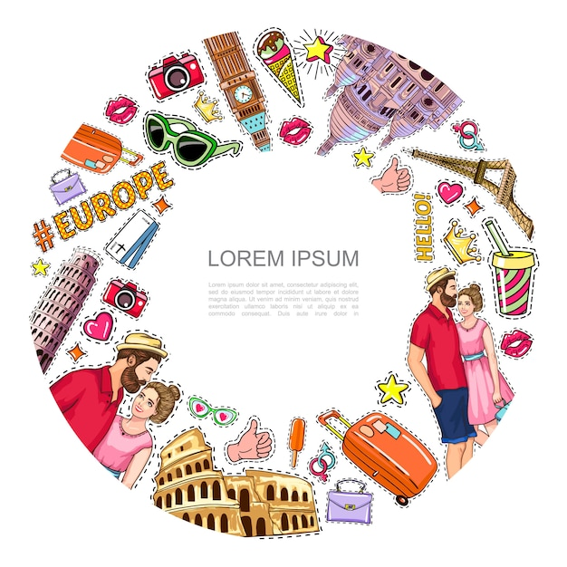 Pop art travel patches round composition with famous sights couple camera tickets eyeglasses bag ice cream soda heart crown stickers Free Vector