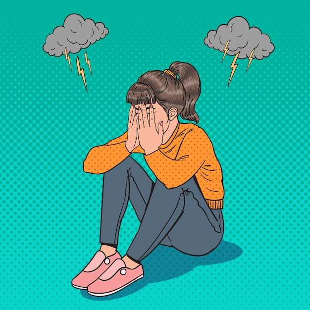 Pop art upset young girl sitting on the floor. depressed crying woman. stress and despair. Premium Vector