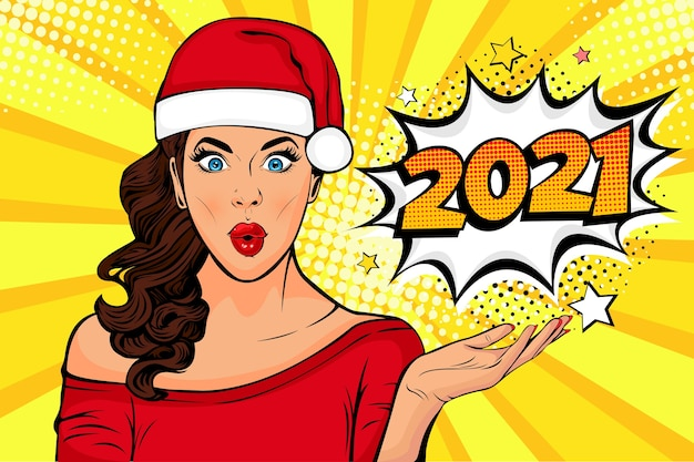 Pop art waiting for new year. brunette girl looking at Premium Vector