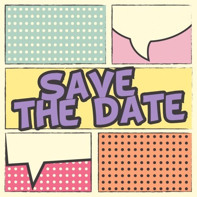Pop Art Wedding Invitation Free Vector