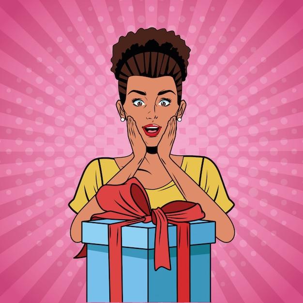Pop art woman birthday cartoon Premium Vector
