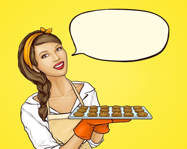 Поп-арт женщина держит поднос с печеньем Бесплатные векторы