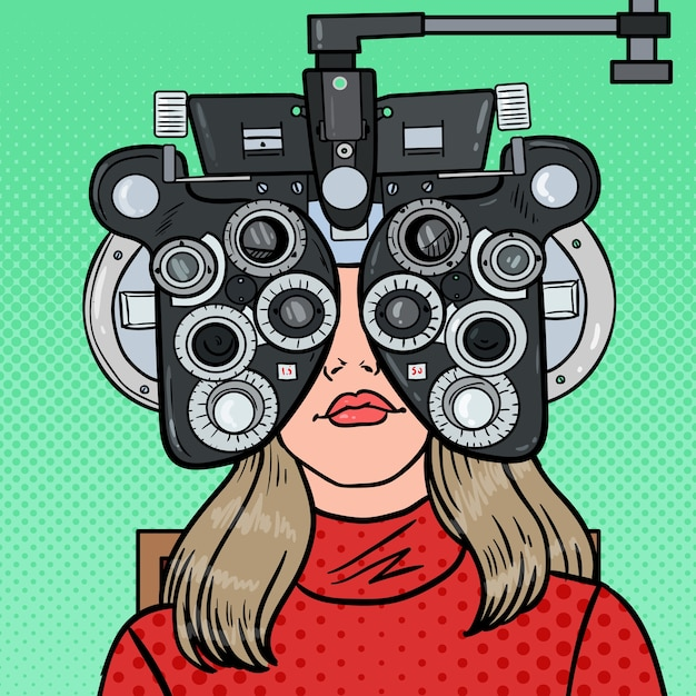 Pop art woman patient at optometric clinic with optical phoropter Premium Vector