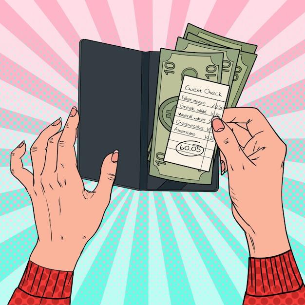 レストランで請求書を支払うポップアートの女性。現金でゲスト小切手を保持している女性の手。 Premiumベクター