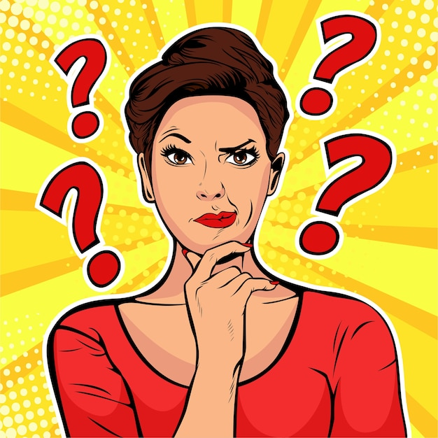 Pop art woman with skeptical expressions and question marks Premium Vector