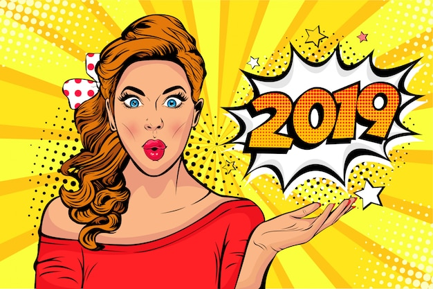 Pop art wow face of caucasian young girl with 2019 number as a new year poster or banner Premium Vector