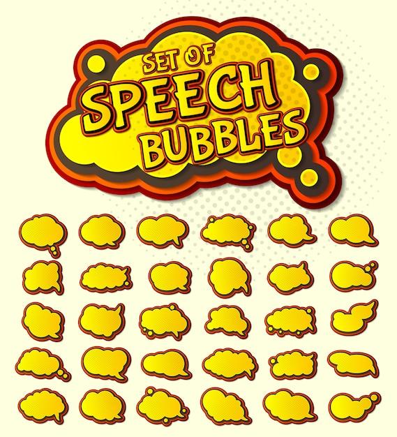 Pop art yellow speech bubbles set Premium Vector