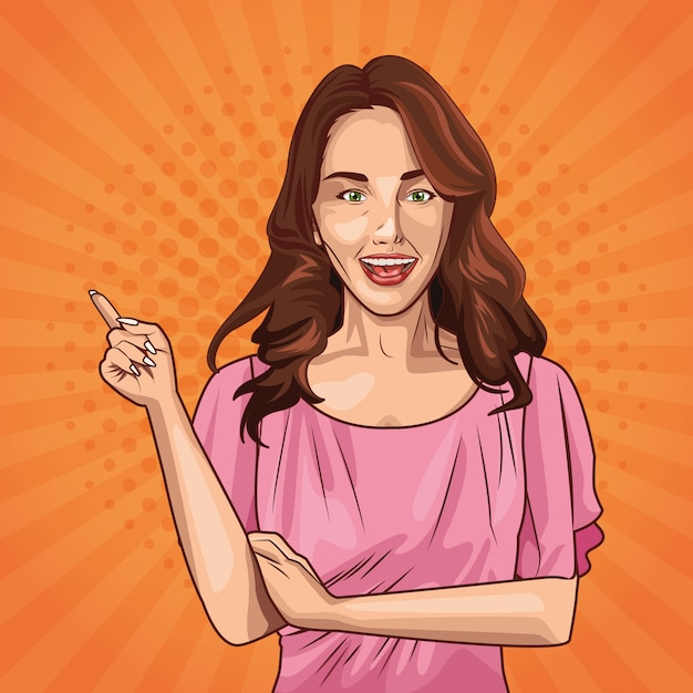 ポップアートの若い女性の漫画 無料ベクター