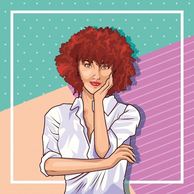 Pop art young woman cartoon Free Vector