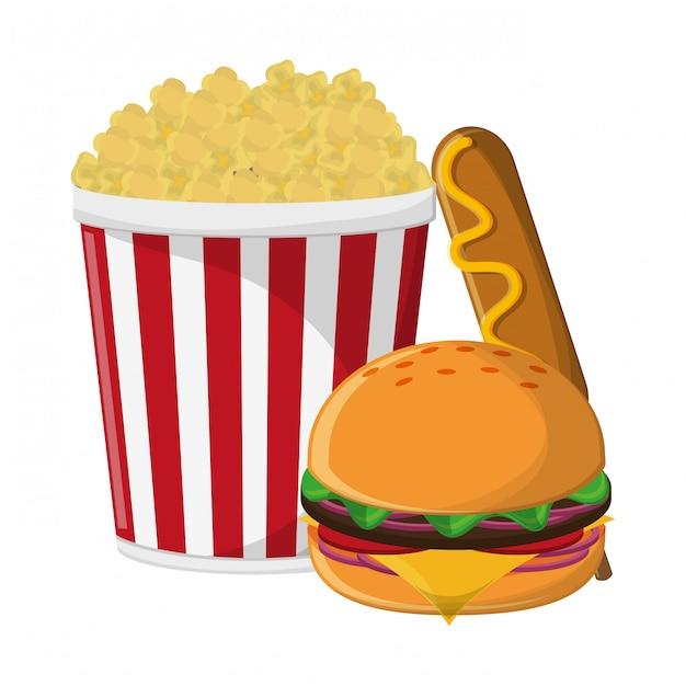 Pop corn burger and hot dog Premium Vector